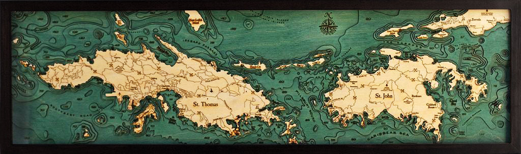 Virgin Islands Wood Carved Topographic Depth Chart / Map - Nautical Lake Art