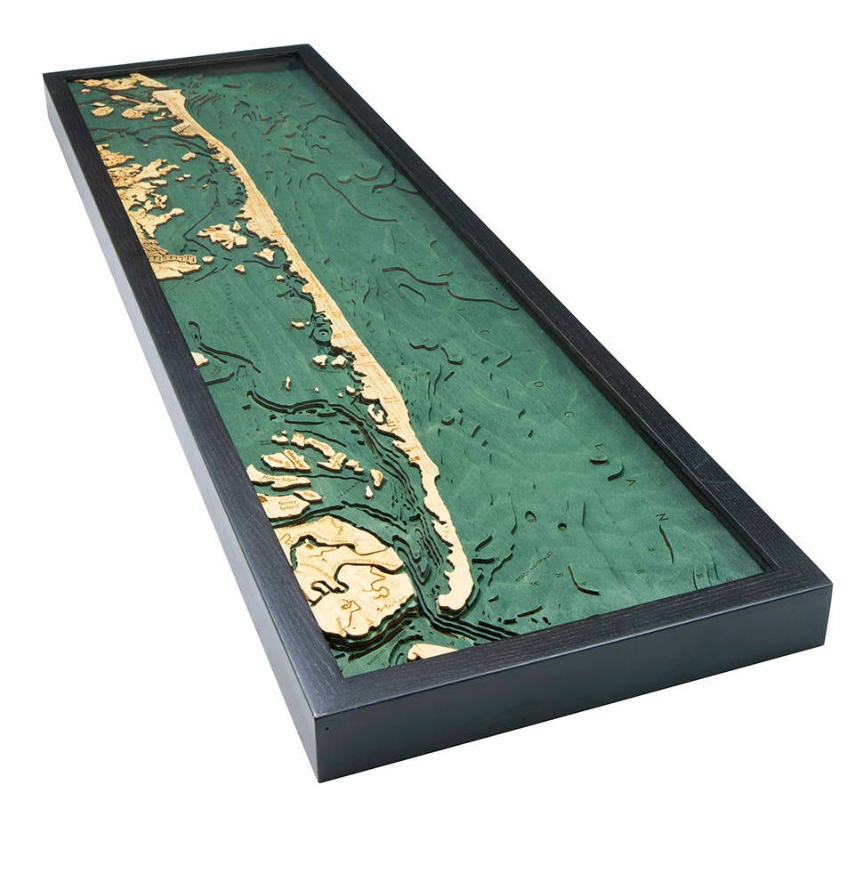 Long Beach Island, NJ Wood Carved Topographic Depth Chart / Map