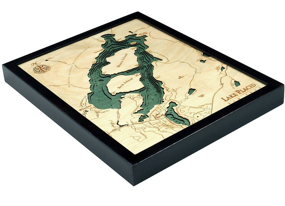 Lake Placid, NY Wood Carved Topographic Depth Chart / Map - Nautical Lake Art