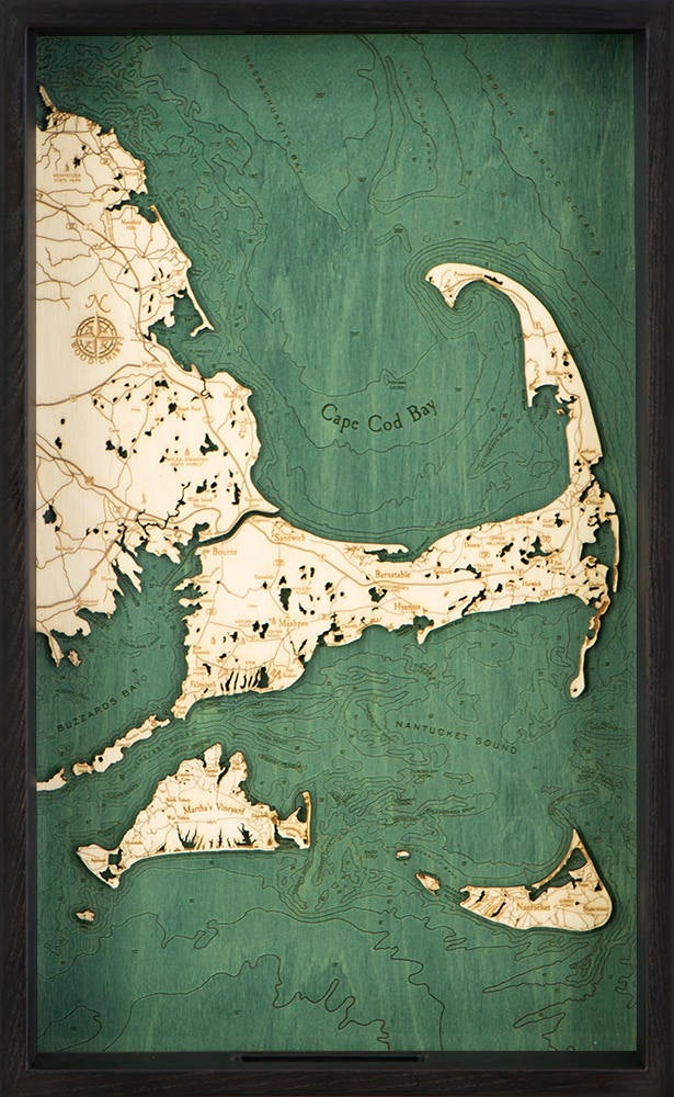 Cape Cod Wooden Topographical Serving Tray