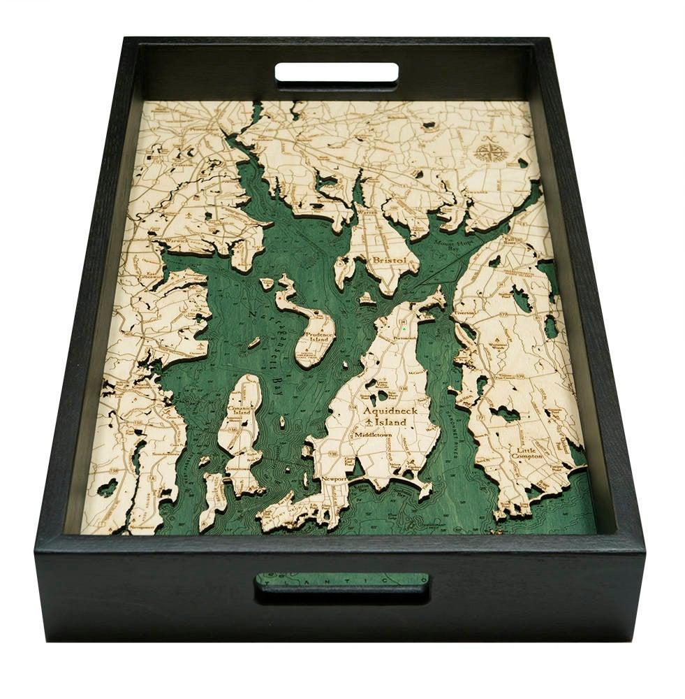 Narragansett, RI Wooden Topographical Serving Tray - Nautical Lake Art