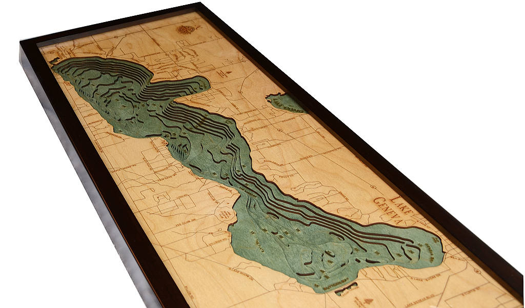 Lake Geneva, WI Wood Carved Topographic Depth Chart / Map - Nautical Lake Art