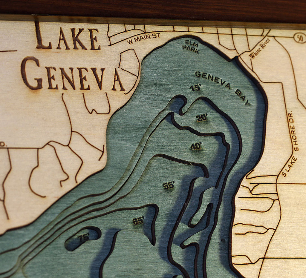 Lake Geneva, WI Wood Carved Topographic Depth Chart / Map