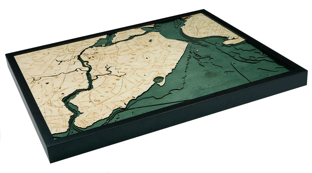Staten Island, NY Wood Carved Topographic Depth Chart / Map - Nautical Lake Art