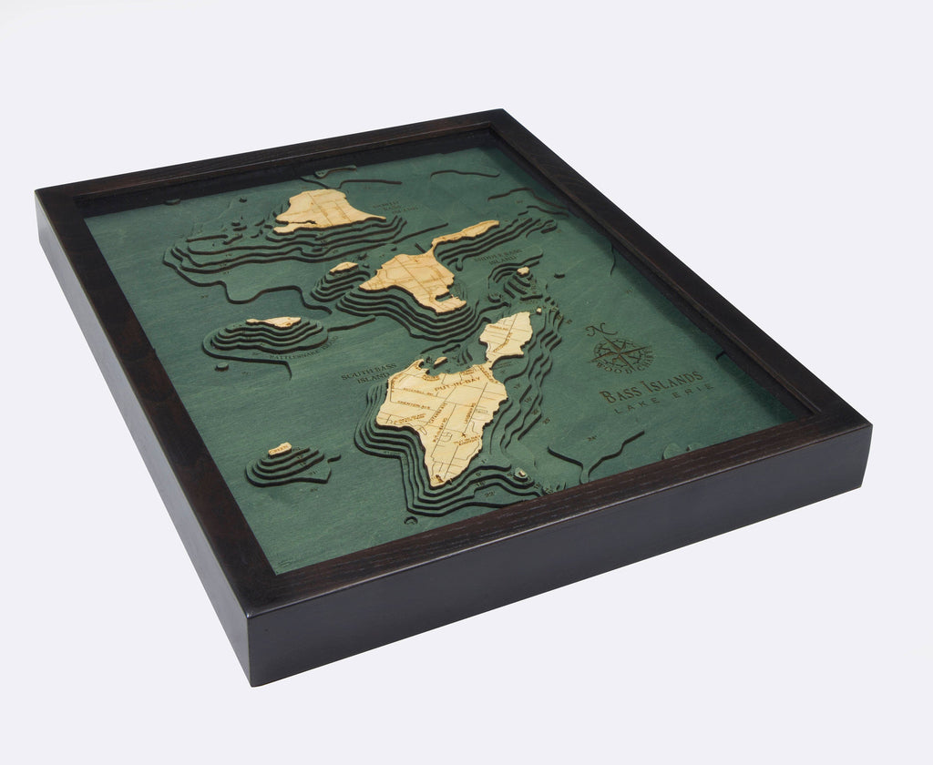 Bass Islands & Put-in-Bay Wood Carved Topographic Depth Chart / Map - Nautical Lake Art