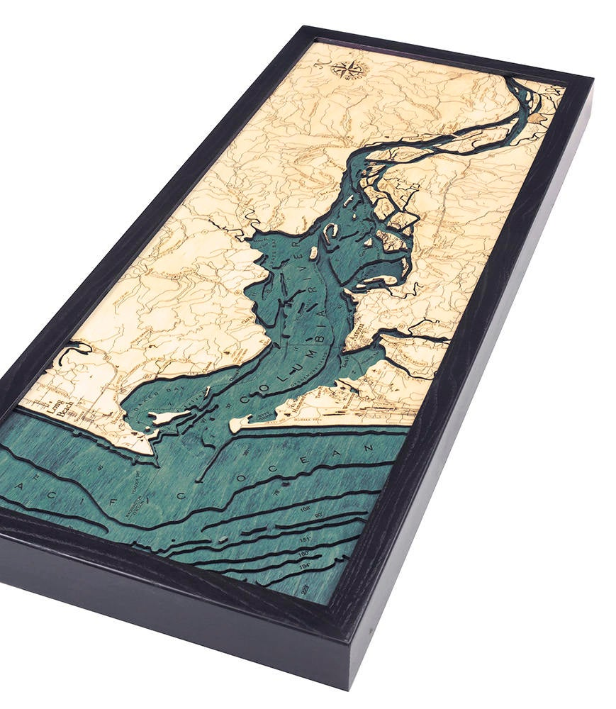 Columbia River Mouth, OR Wood Carved Topographic Depth Chart / Map - Nautical Lake Art