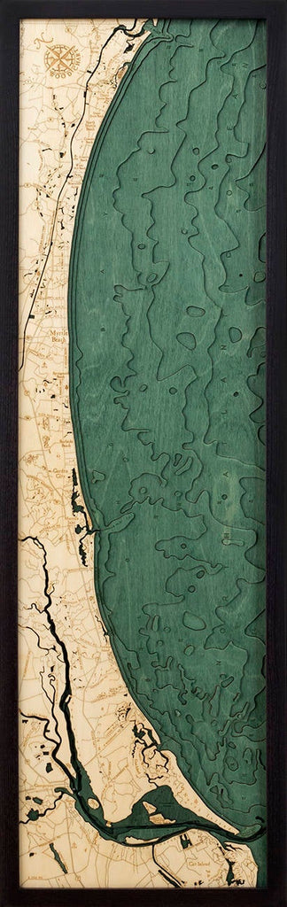 Myrtle Beach Wood Carved Topographic Depth Chart / Map - Nautical Lake Art