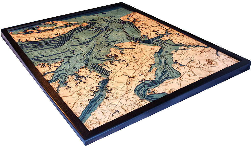 Norfolk, VA Wood Carved Topographic Depth Chart / Map