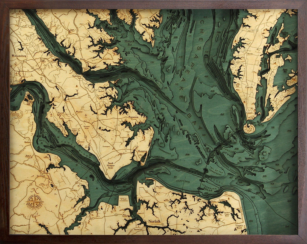 Norfolk, VA Wood Carved Topographic Depth Chart / Map - Nautical Lake Art