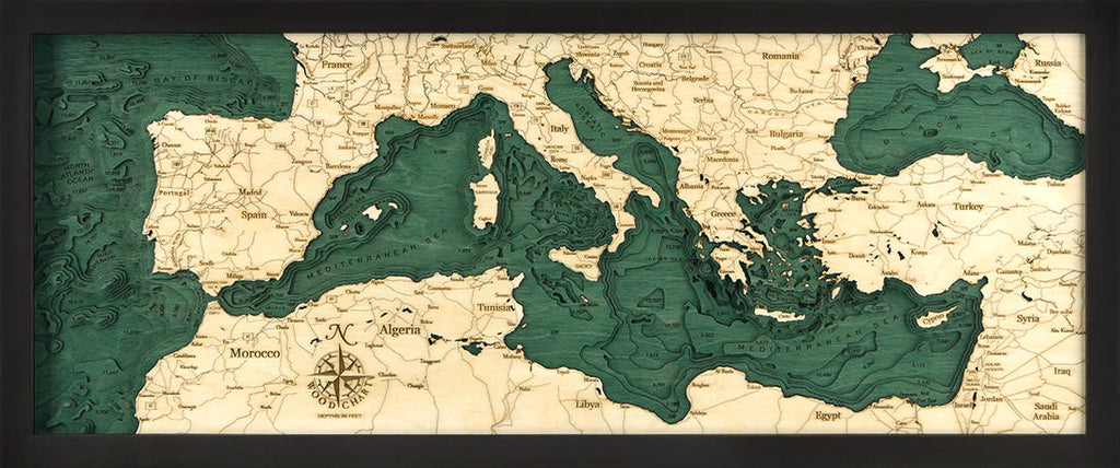 Mediterranean Sea Wood Carved Topographic Depth Chart / Map - Nautical Lake Art