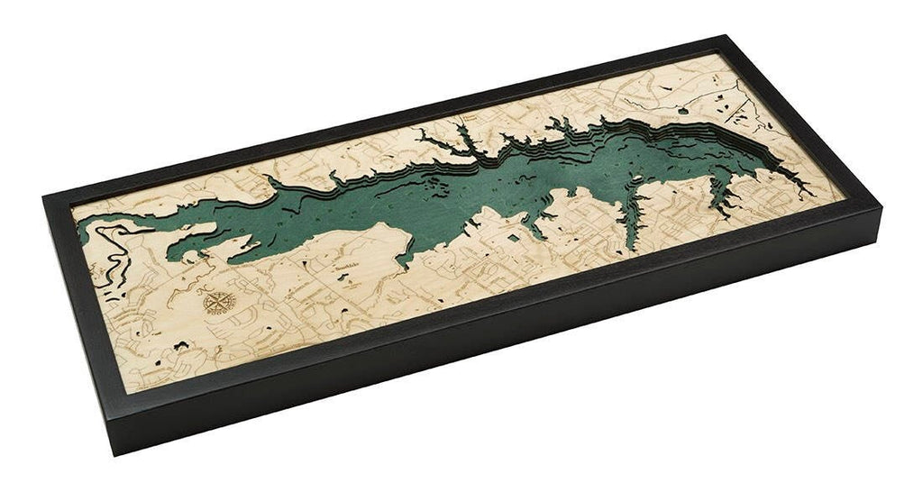 Grapevine Lake, TX Wood Carved Topographic Map - Nautical Lake Art