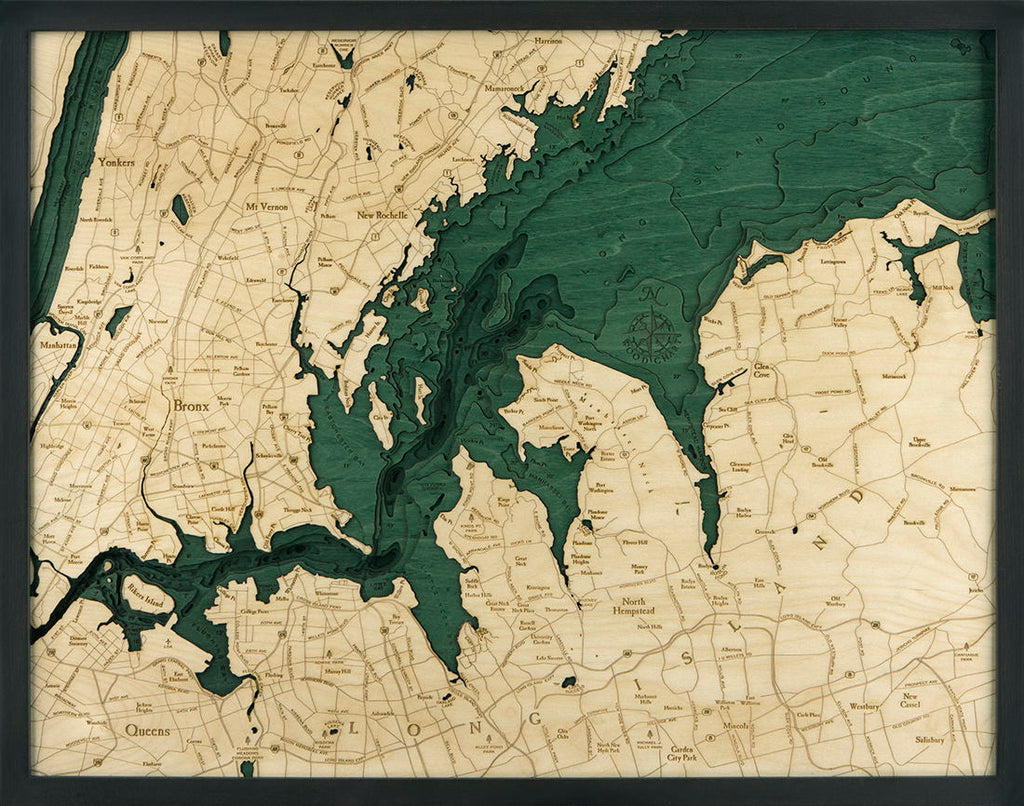 West Long Island, NY Topographic Wood Carved Map - Nautical Lake Art