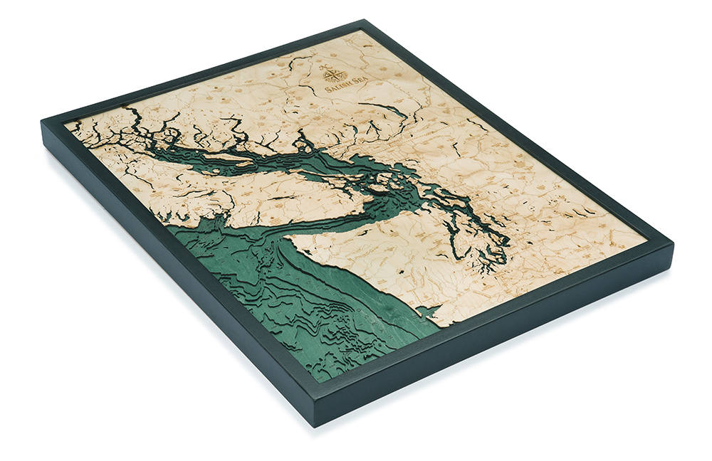 Salish Sea Wood Carved Topographical Map - Nautical Lake Art