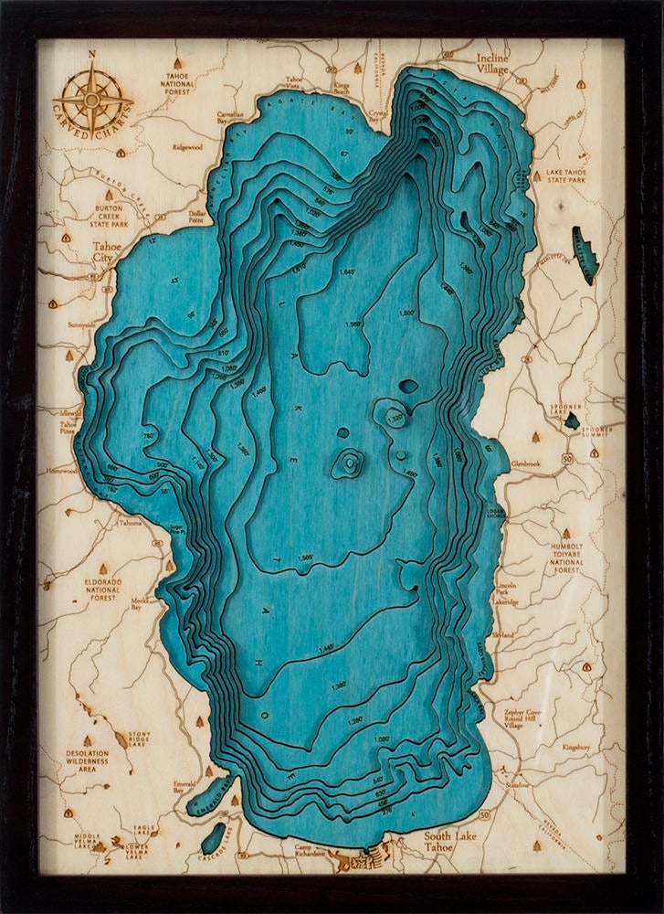 Lake Tahoe Wood Carved Topographical Depth Chart / Map - Nautical Lake Art