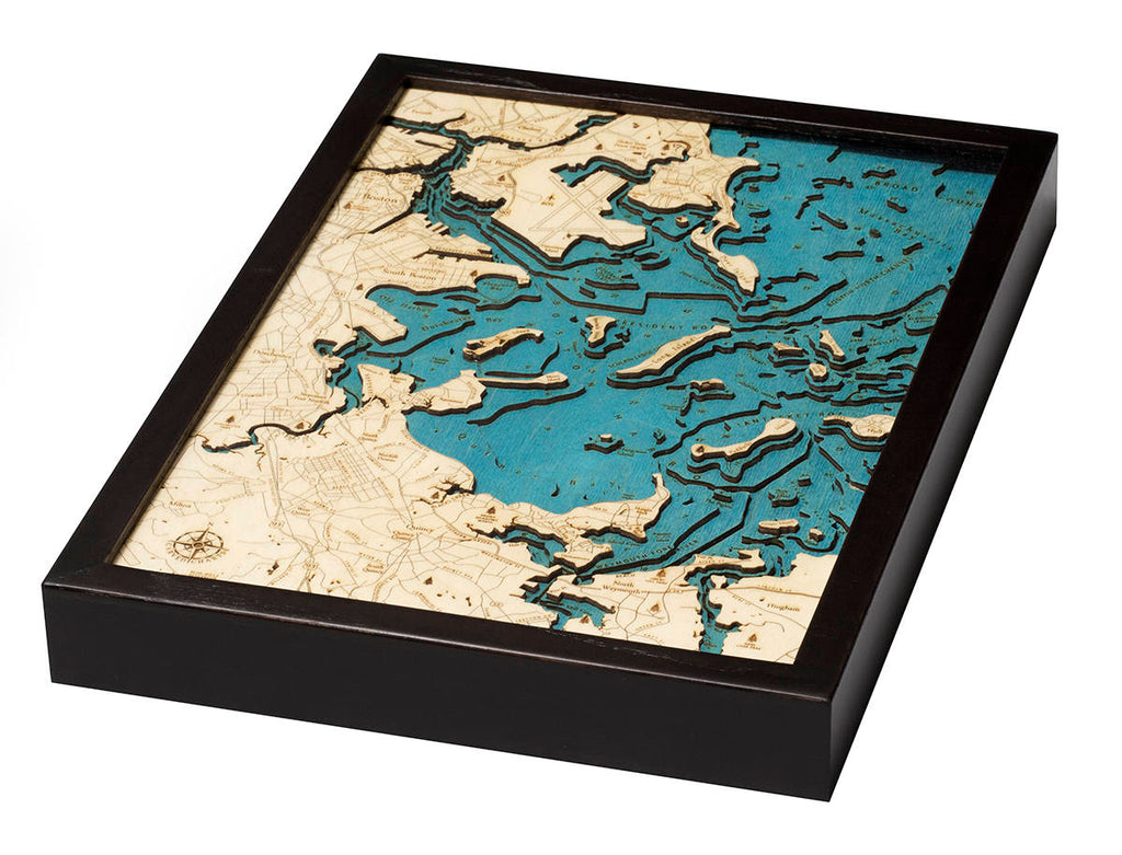 Boston Harbor Wood Carved Topographic Depth Chart / Map - Nautical Lake Art