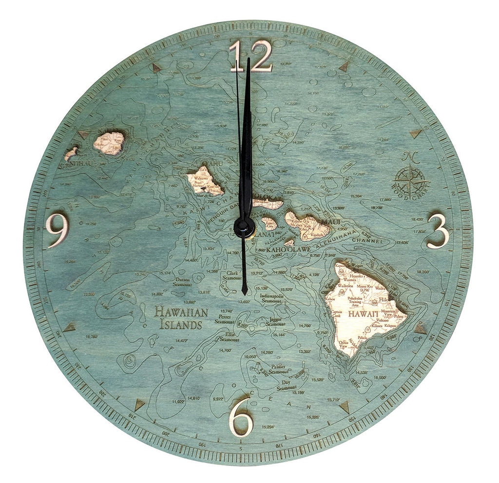 Hawaiian Islands Wood Carved Clock - Nautical Lake Art