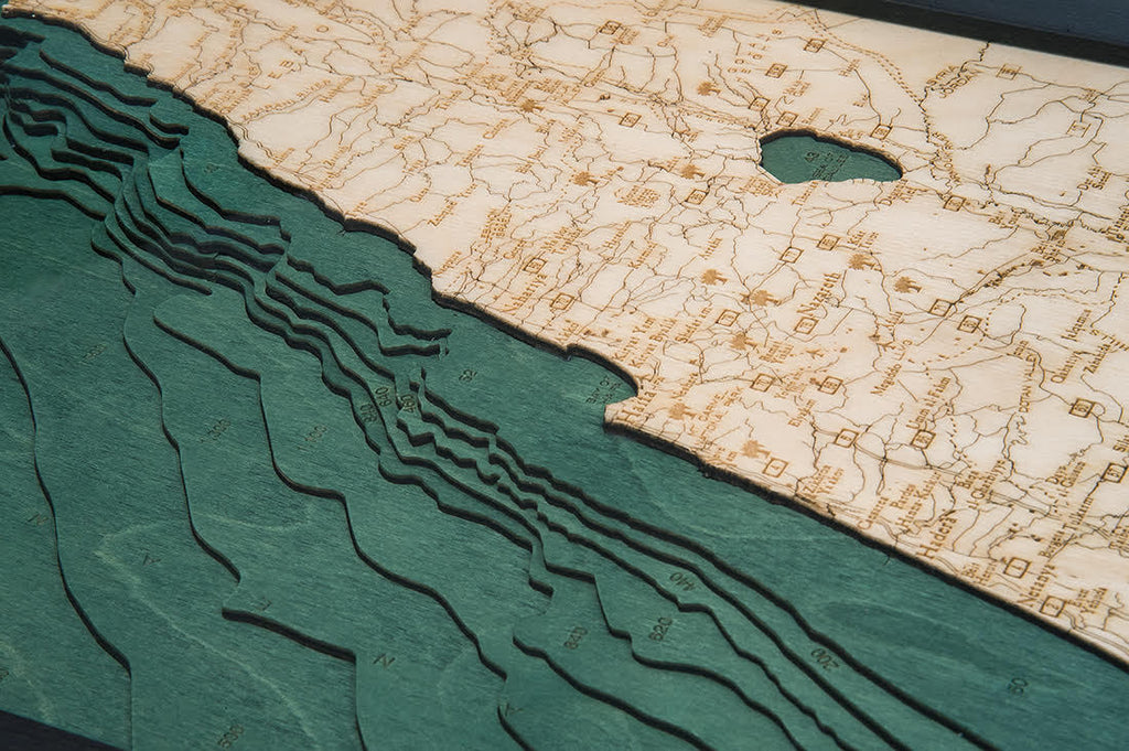 Israel Wood Carved Topographic Depth Chart / Map - Nautical Lake Art