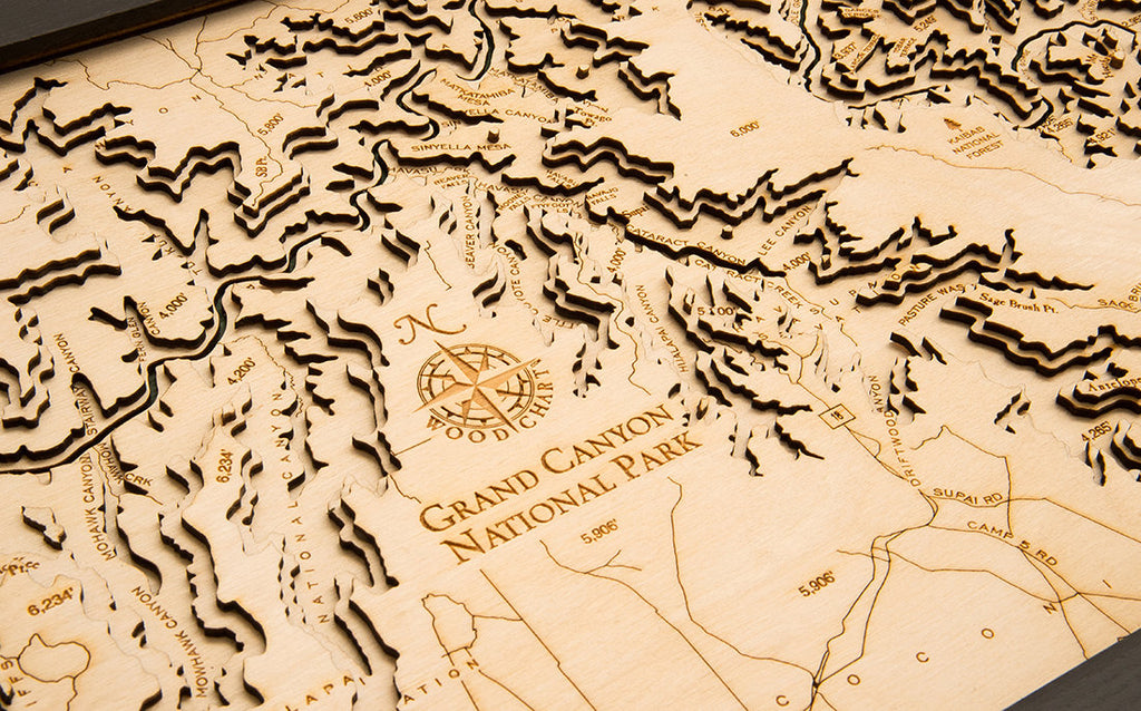 Grand Canyon Wood Carved Topographic Depth Chart / Map - Nautical Lake Art