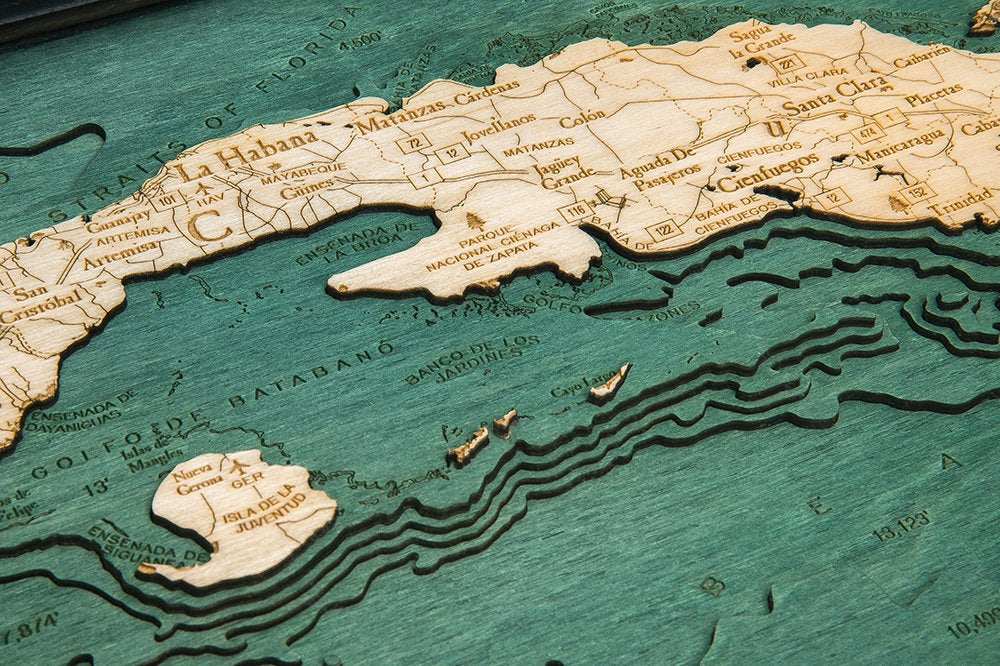 Cuba Wood Carved Topographic Depth Chart / Map - Nautical Lake Art