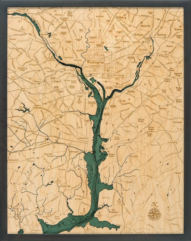 Washington D.C. Wood Carved Topographic Depth Chart / Map - Nautical Lake Art