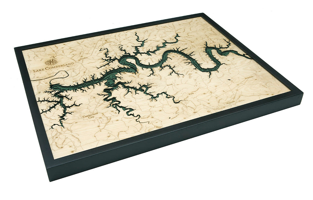 Lake Cumberland Wood Carved Topographical Depth Chart / Map - Nautical Lake Art
