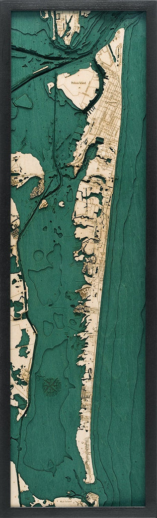 Galveston Wood Carved Topographical Depth Chart / Map - Nautical Lake Art
