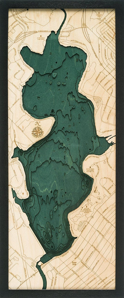 White Rock Lake Wood Carved Topographic Depth Map / Chart - Nautical Lake Art