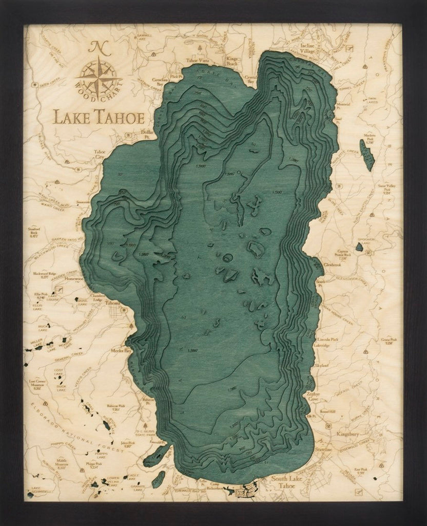 Lake Tahoe Wood Carved Topographical Depth Chart / Map