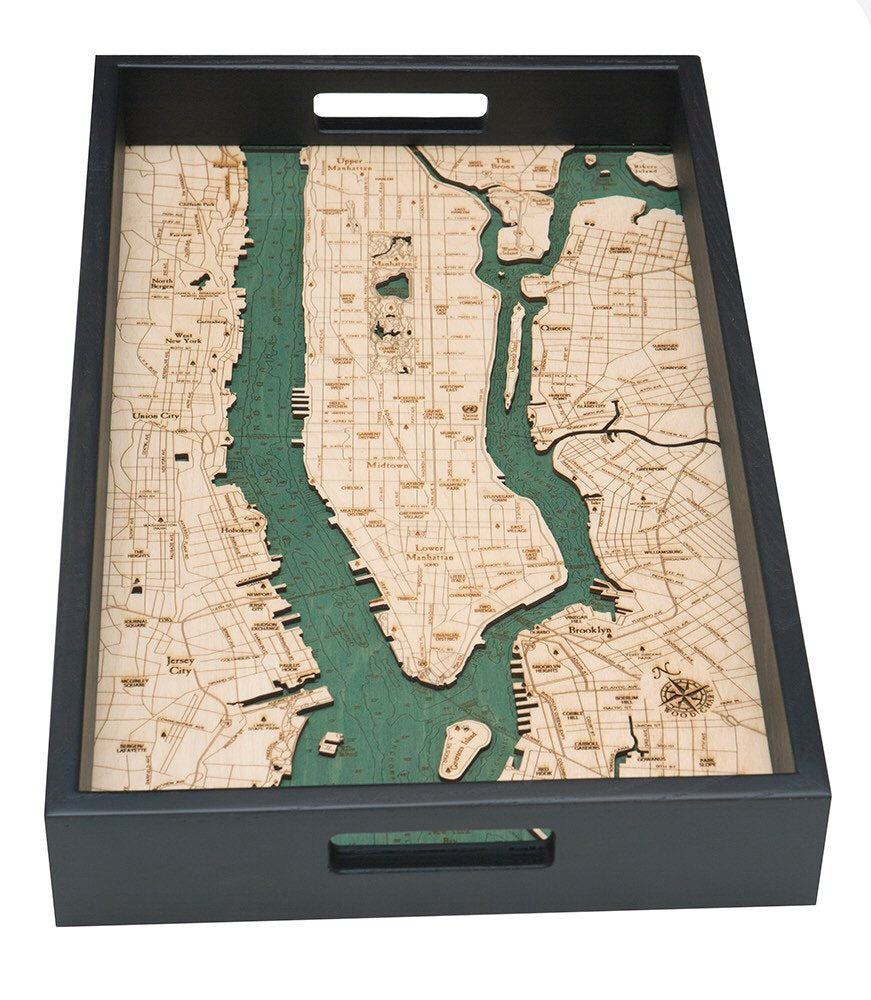Manhattan, NY Wooden Topographical Serving Tray - Nautical Lake Art