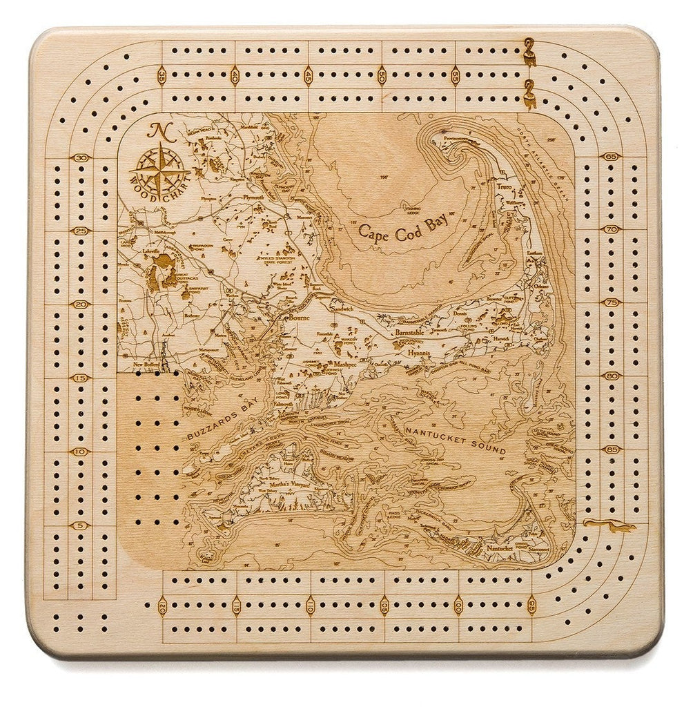 Cape Cod Topographic Cribbage Board