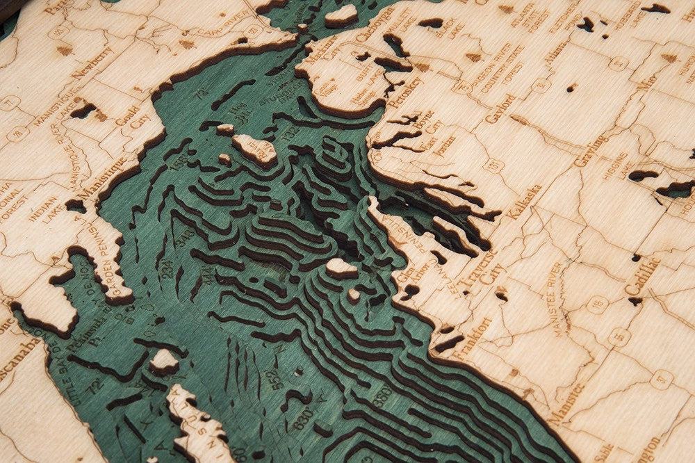 Lake Michigan Wood Carved Topographic Depth Chart / Map - Nautical Lake Art