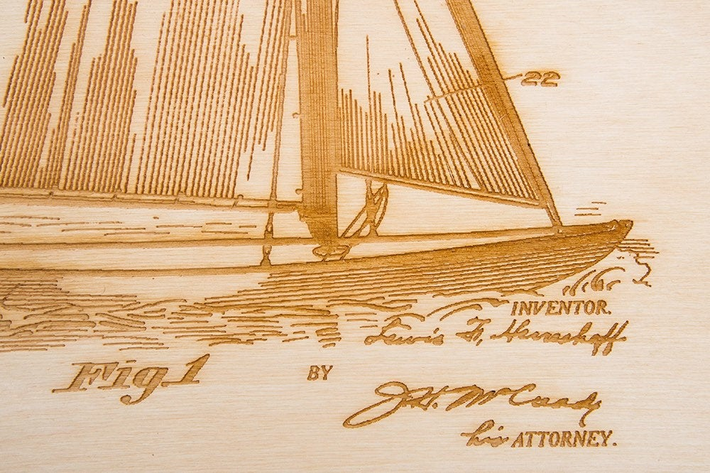 Sailboat Patent Art / Wood Carved Home Decor - Nautical Lake Art