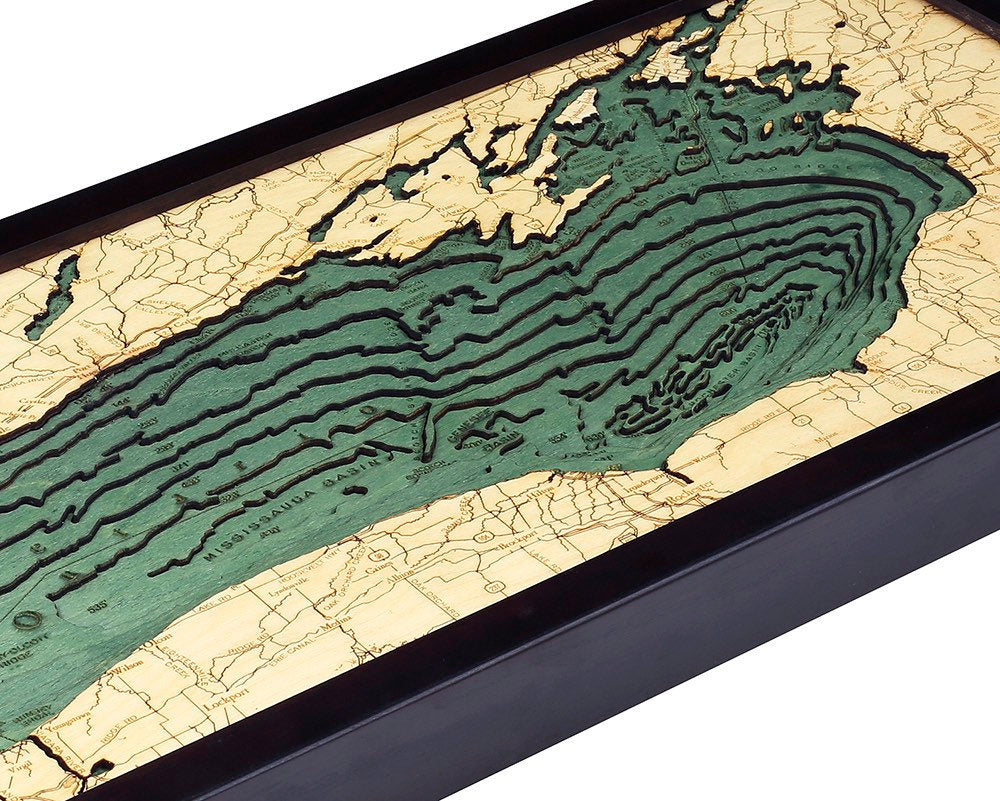 Lake Ontario Wood Carved Topographic Depth  Chart / Map