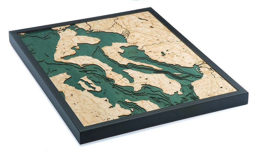 Whidbey & Camano Islands Wood Carved Topographic Depth Chart / Map - Nautical Lake Art