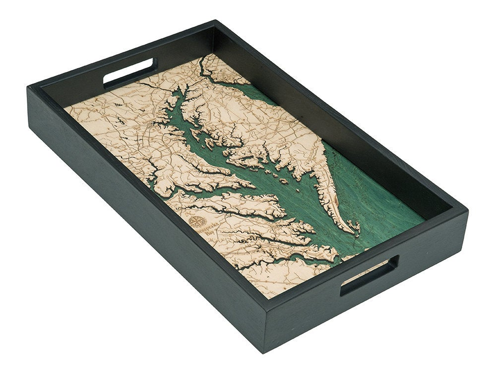 Chesapeake Bay Wooden Topographical Serving Tray