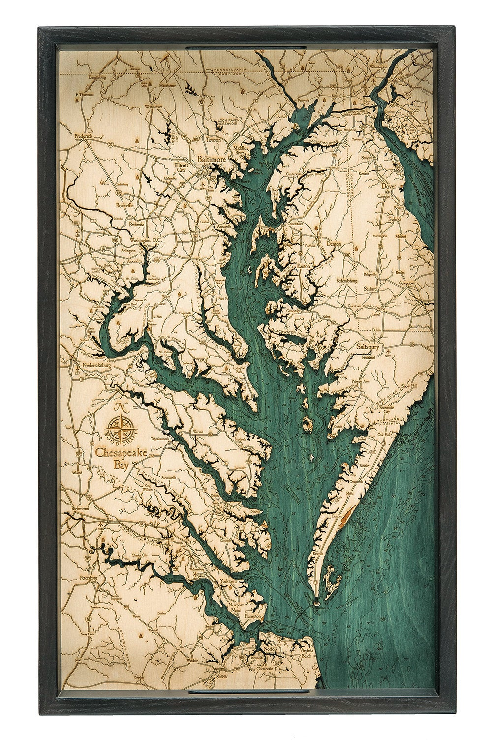 Chesapeake Bay Topographic Map.Chesapeake Bay Wooden Topographical Serving Tray