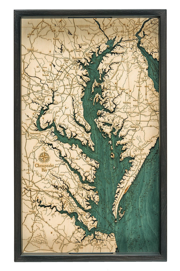 Chesapeake Bay Wooden Topographical Serving Tray - Nautical Lake Art