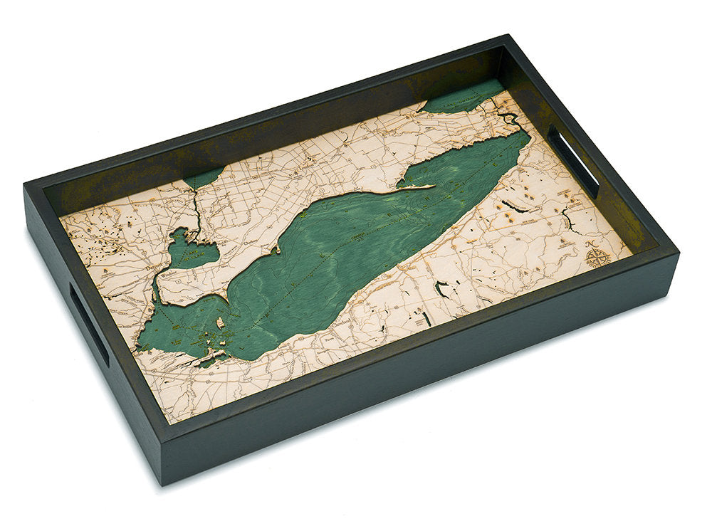 Lake Erie Wooden Topographical Serving Tray