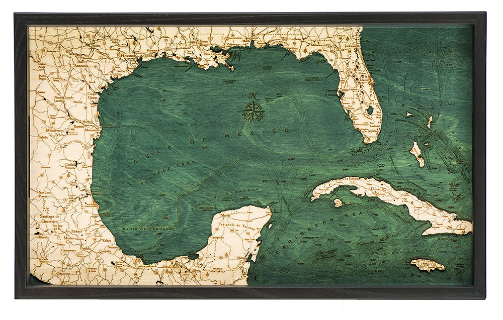 Gulf of Mexico Wooden Topographical Serving Tray