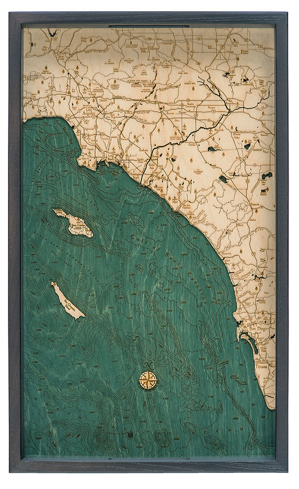LA to San Diego Wood Carved Topographic Serving Tray - Nautical Lake Art