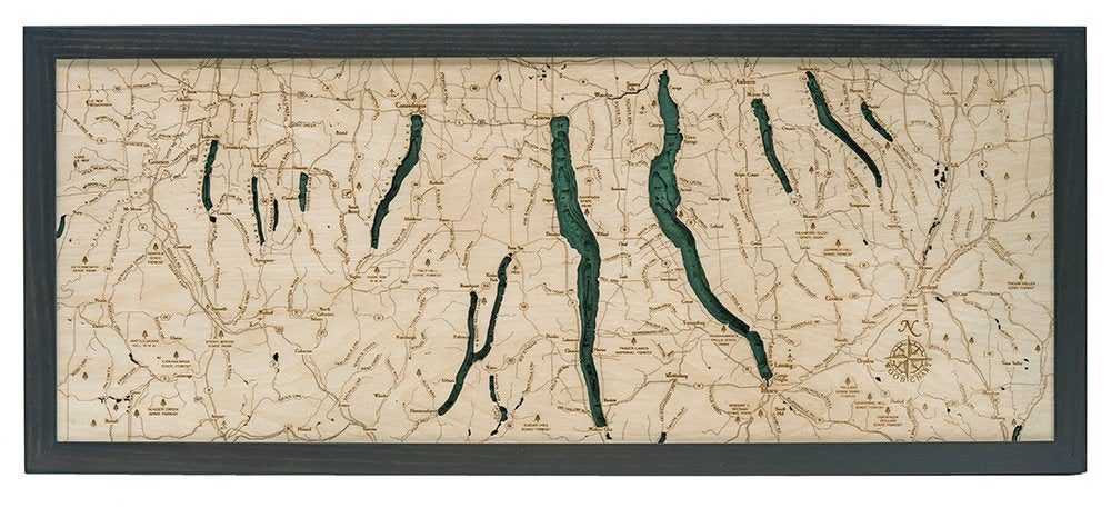 Finger Lakes Wood Carved Topographical Depth Chart / Map - Nautical Lake Art