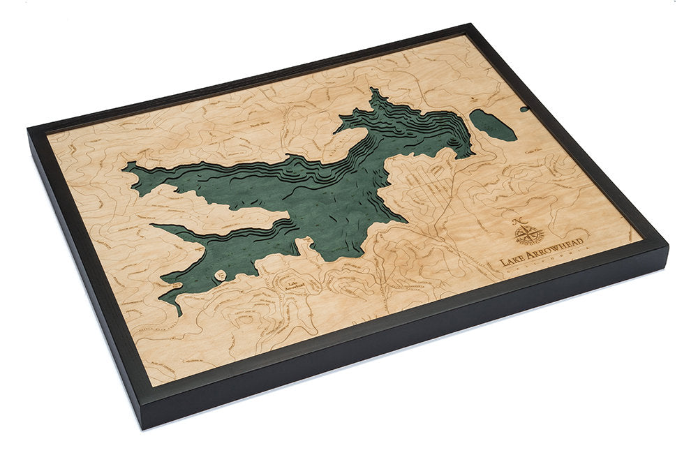 Lake Arrowhead Wood Carved Topographical Depth Chart / Map - Nautical Lake Art