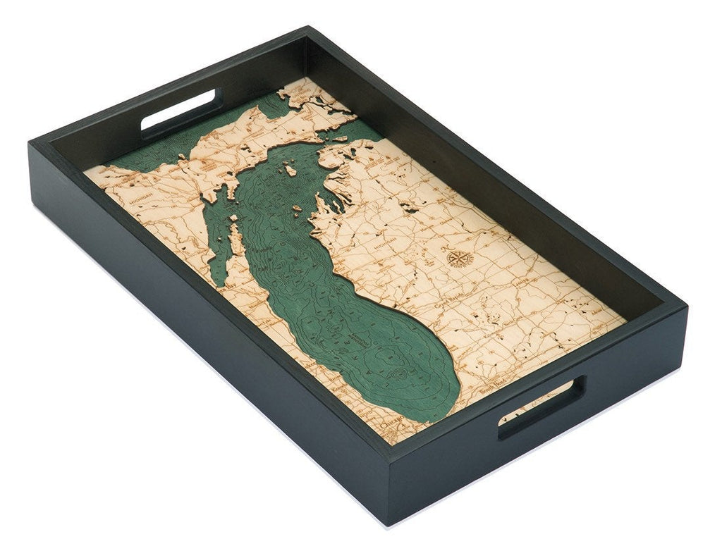 Lake Michigan Wooden Topographical Serving Tray