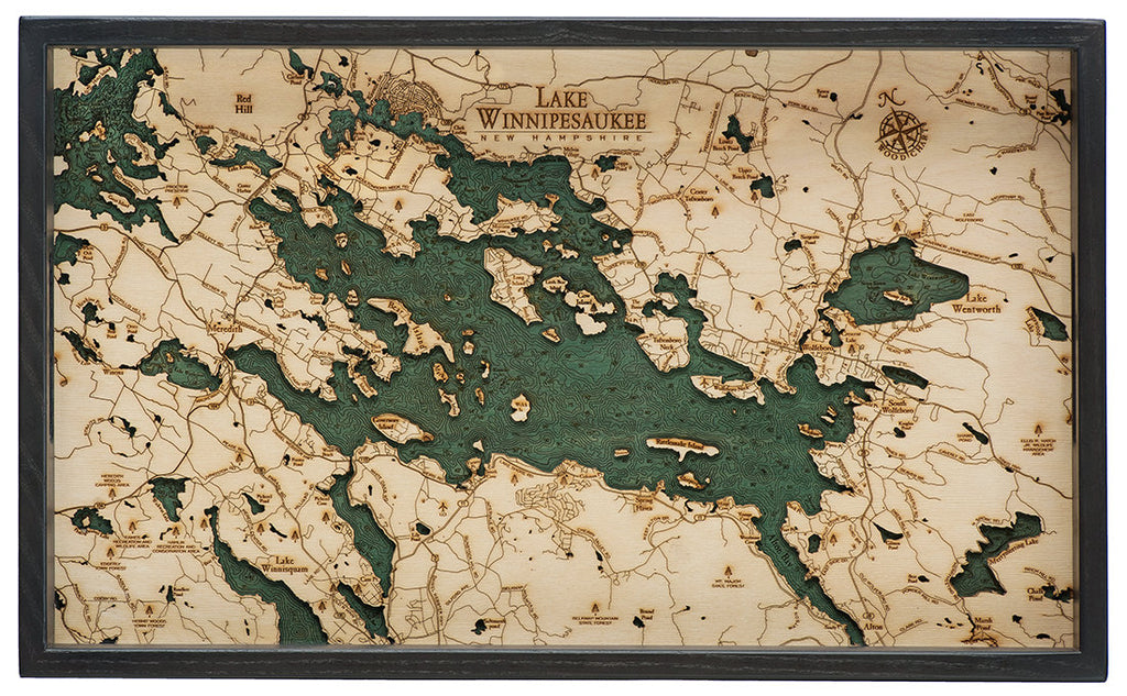 Lake Winnipesaukee Wooden Topographical Serving Tray