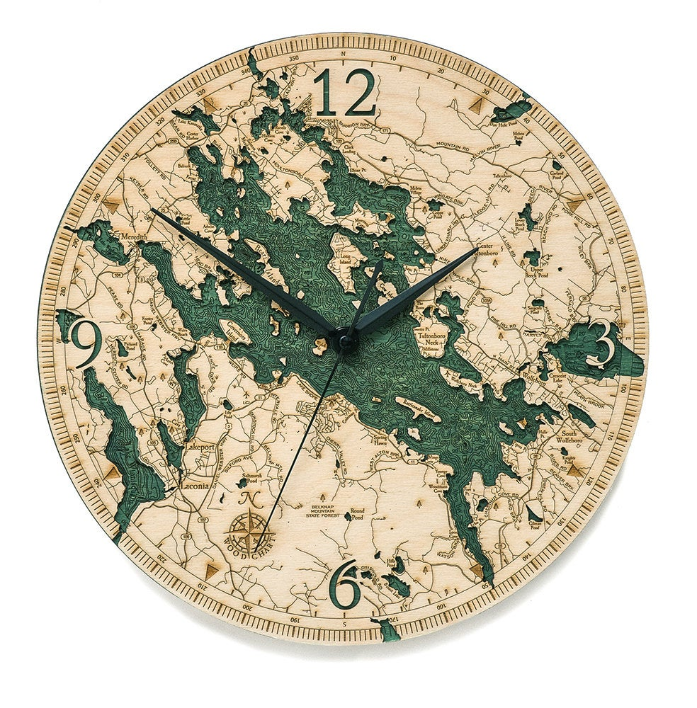 Lake Winnipesaukee Wood Carved Clock - Nautical Lake Art