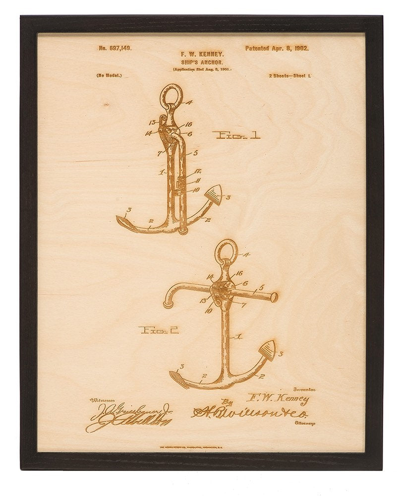 Framed Anchor Patent Art / Wood Carved Home Decor