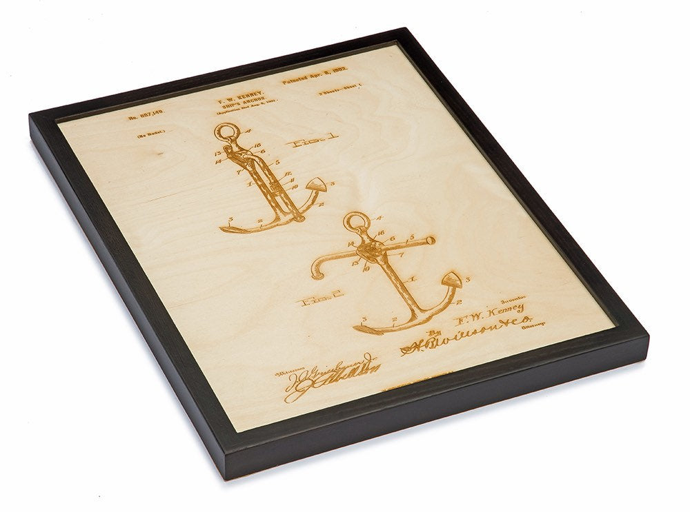 Framed Anchor Patent Art / Wood Carved Home Decor - Nautical Lake Art