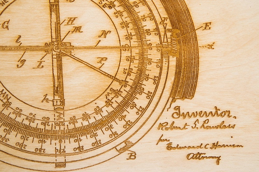 Compass Patent Art / Wood Carved Home Decor - Nautical Lake Art