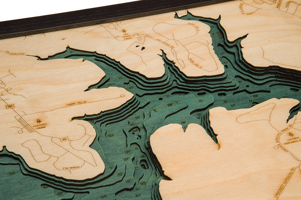 Lake Georgetown Wood Carved Topographical Depth Chart / Map