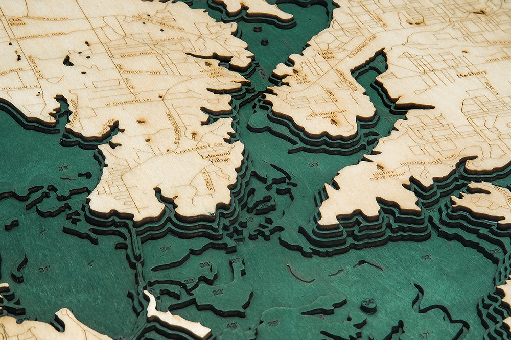Lewisville Lake Wood Carved Topographical Depth Chart / Map